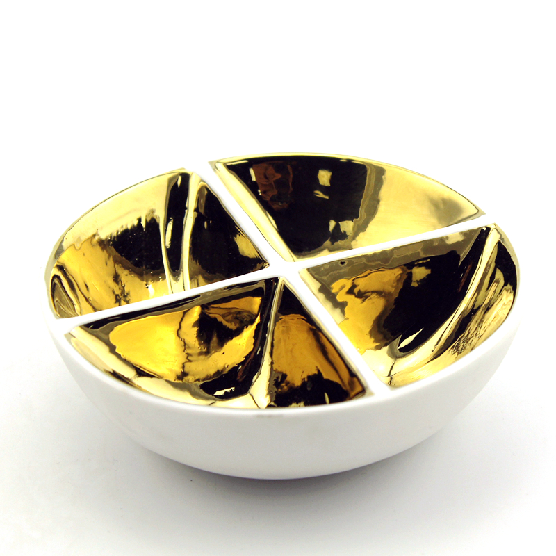 gold round ceramic trinket divided dish